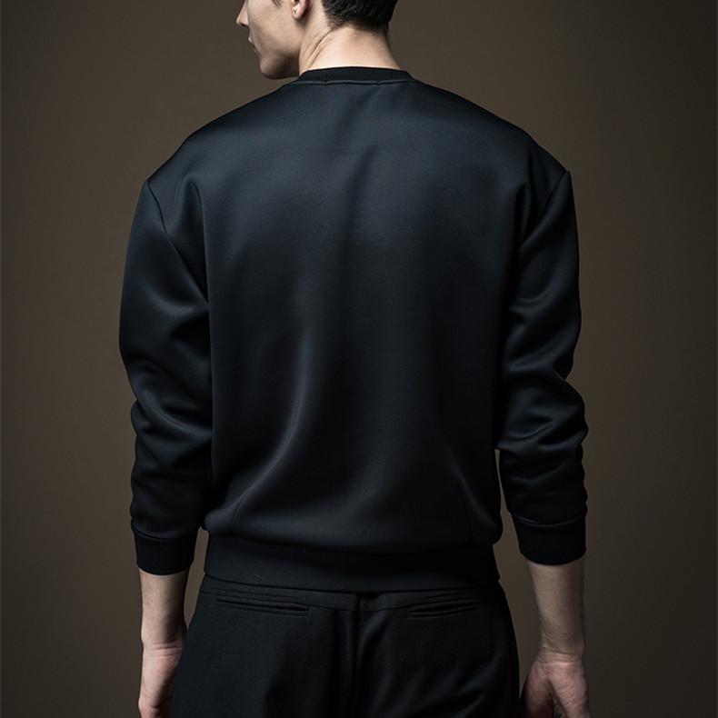 Мужская Уличная одежда, 60% хлопок, 40% полиэстер, флисовая толстовка, Черный свитшот с вышивкой на заказ, толстовки