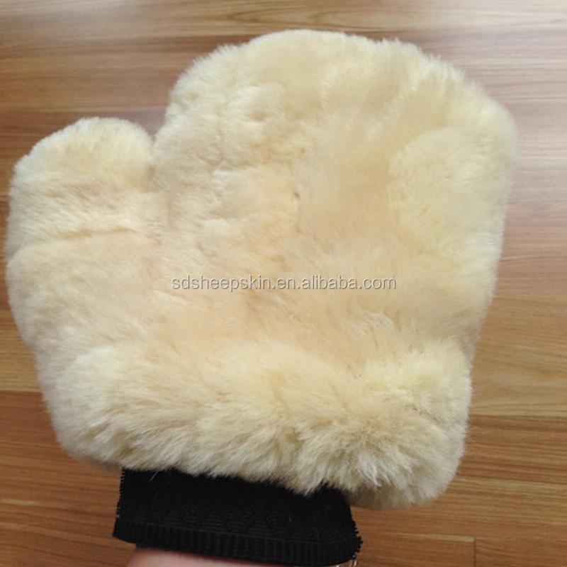 Corderos Lana Wash Mitt genuina piel de oveja Lambswool para lavar el coche y pulido