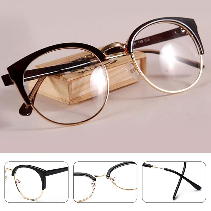 2018 Hot Anti-radiation Goggles Plain Glass Spectacles Vintage Fashion Women Metal+plastic Semi Circle Frame Optical Glasses New Women's Sunglasses