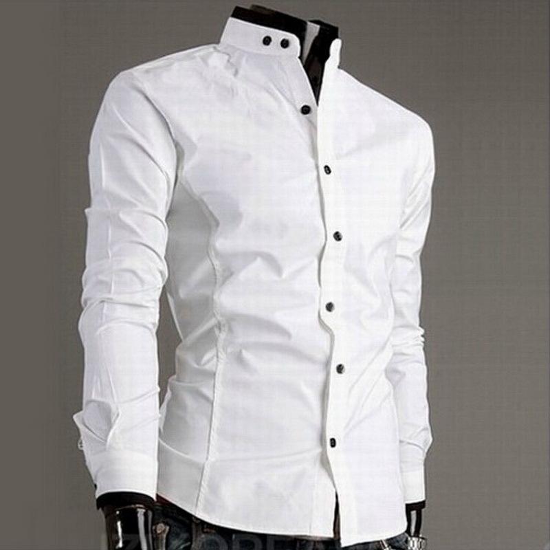 4f4f5f192d5f О. Купить Хлопковая мужская рубашка с воротником-стойкой ...