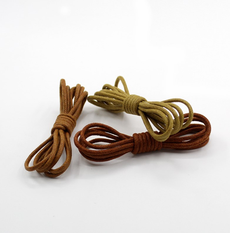 wholesale shoes accessories custom round waxed cotton shoelaces