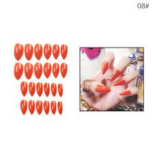 Маникюрный Маникюр 24 шт., глянцевые наконечники для накладных ногтей, длинные поддельные формы для ногтей для наращивания, маникюрный дизай...(Китай)