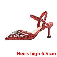 Стразы на каблуке, обувь на День святого Валентина, свадебные туфли на каблуке с кристаллами, женские модельные туфли-лодочки 2020(China)