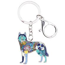 """Брелок для ключей Bonsny, эмалированный, для собак из породы """"Хаски""""(Китай)"""