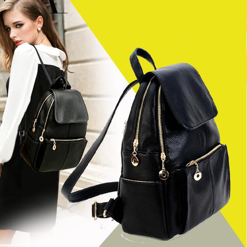 ba93914d2159 2016 горячий новый бренд женщин PU натуральная кожа рюкзаки женские  школьные проездные плечо сумки для подростков девочек сумки mochilas FR054