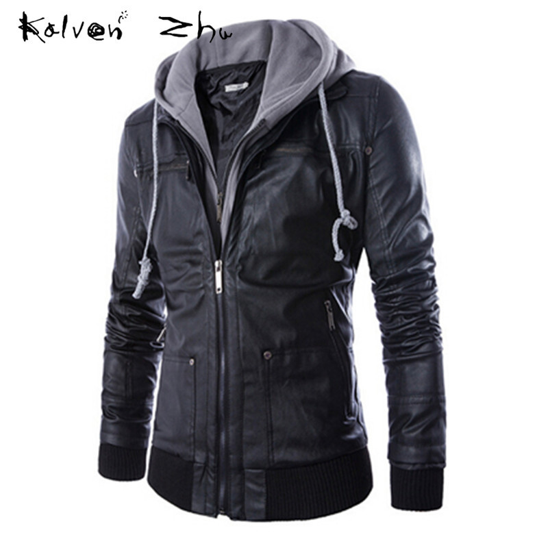 Leather hoodie jacket for men
