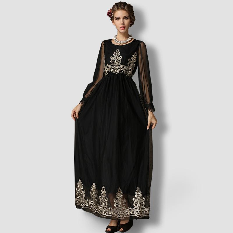 Elegant Long Sleeve Wedding Dress Muslim Dress 2015 Simple: Embroidery Black Islamic Clothing Elegant Long 2015 Muslim