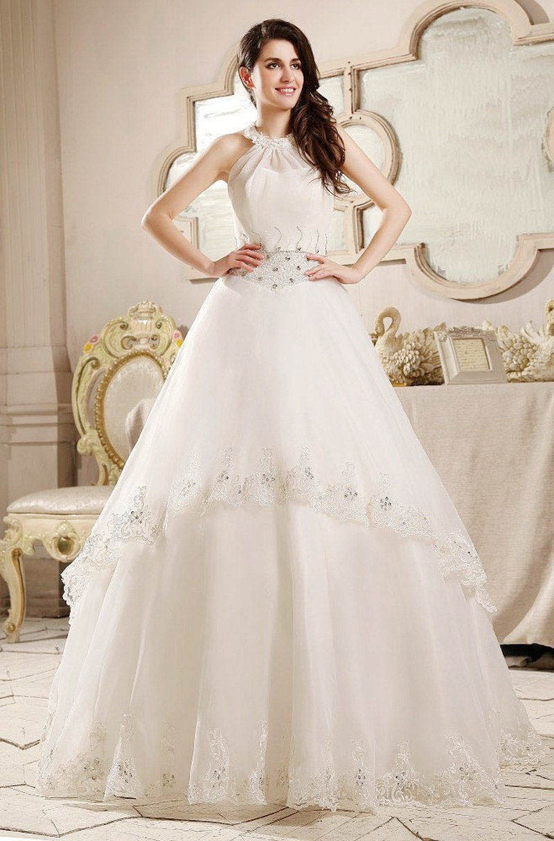 Free Shipping 2015 halter white ball gown brand backless ...Halter Top Backless Wedding Dresses