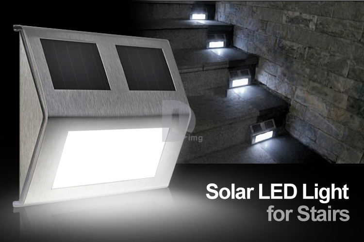 4pcs/lot Solar Powered Pannel Stainless Steel Staircase