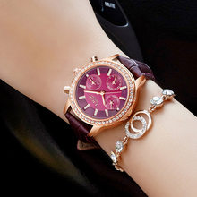Женские часы LIGE, часы с бриллиантовым циферблатом, золотые, кожаные, под платье, с календарем(Китай)