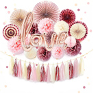 Hot sell Rose gold Paper Fans with paper pompom For bachelorette party supplies wedding decoration bridal shower favors