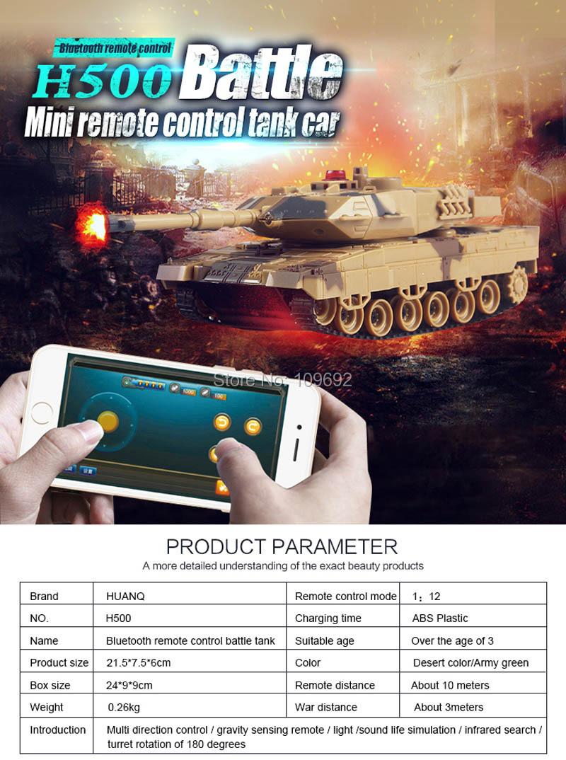 Original HuanQi H500 RC Tanks Battle Infrared Shooting Phone Bluetooth  Gravity Sensor Super Power Remote Control Toys For Kids