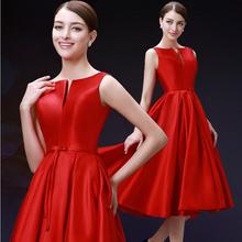New 2016 fashion medium length quality red party dresses Twill satin plus size vestido de novia lace up prom dress