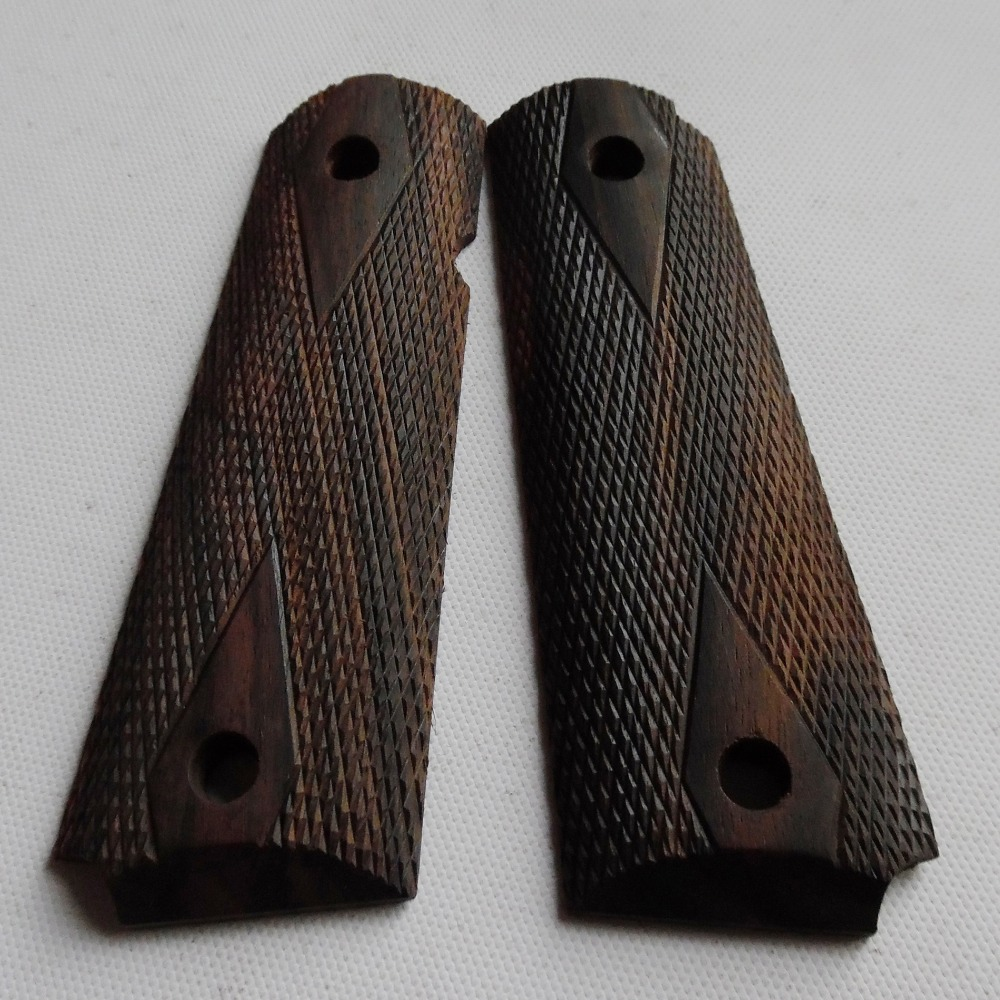 colt 1911 full size government,commander ebony wood grips with hand carved checkers diamonds 002 ...