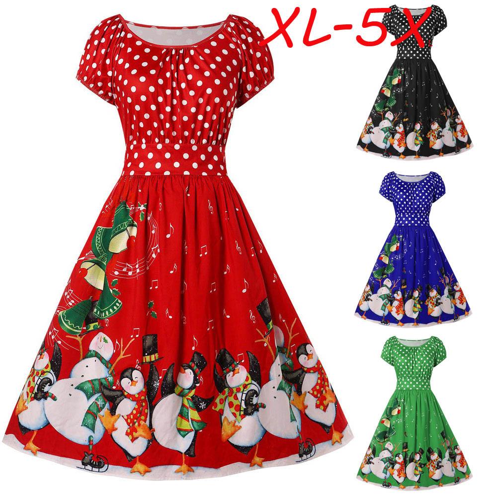 2c1995166bec4 Fashion Women Vintage Plus Size Penguin Dot Print Christmas O-Neck Party  Dress