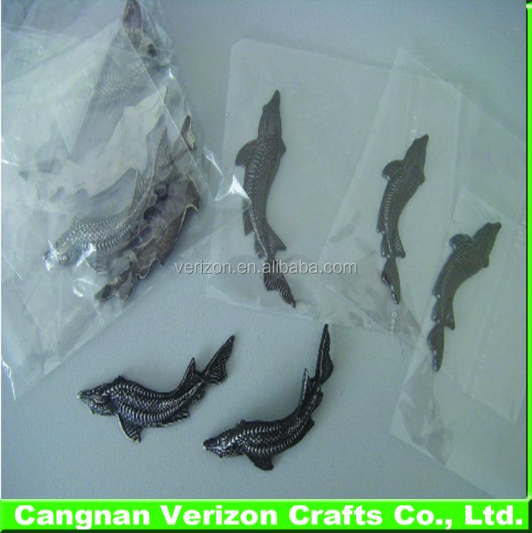 Hot sale pewter label stannum fish metal label Beluga metal packing label