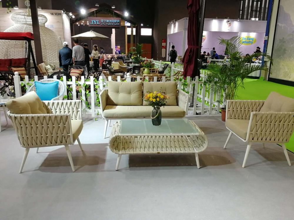 hot sale outdoor cast aluminum garden patio rattan sofa furniture
