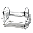 BX Group 2 tier kitchen dish steel rack dish draining tray chopstick holder