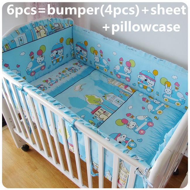 Продвижение! 6 шт. привет котенок хлопок детские кроватки постельных принадлежностей для девочек мальчиков новорожденный постельного белья ( бамперы + лист + )