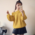 2016 Autumn Fashion Women Sweater Female Cardigan Puff Sweater Knit Jacket Pink Yellow Purple White Khaki