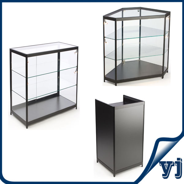Free Standing Lockable Glass Display Cabinets/tower Glass