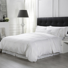 Bv Luxury Custom Queen King Satin Pure White 100% Cotton Bedsheet Bed Linen 5 Star Hotel Bedding Set
