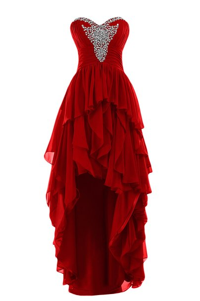 Cheap Sweetheart Beaded Long Chiffon Burgundy Red High Low ...Red High Low Prom Dresses 2013
