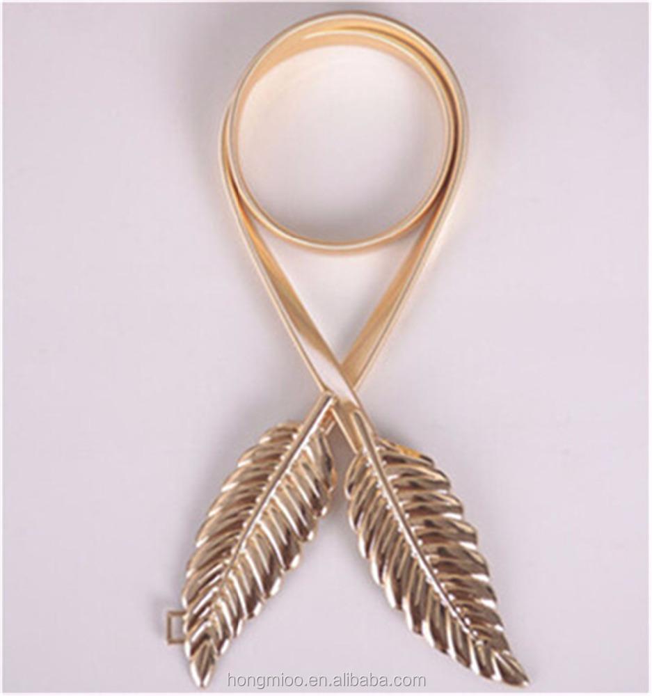 Женский эластичный пояс с металлическими листьями золотого и серебряного цвета