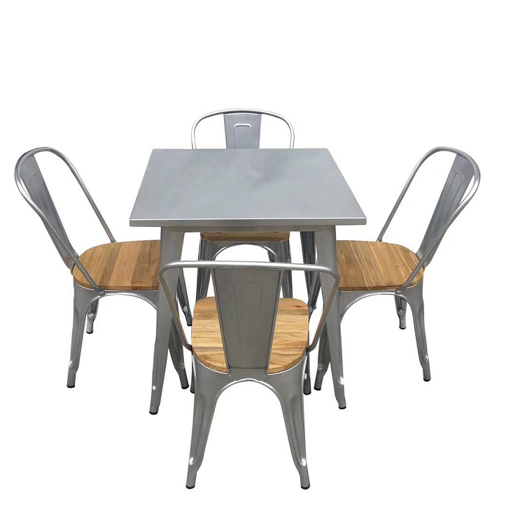 Cheap Foshan Italian steel frames metal outdoor dining wrought iron garden squared table and chairs