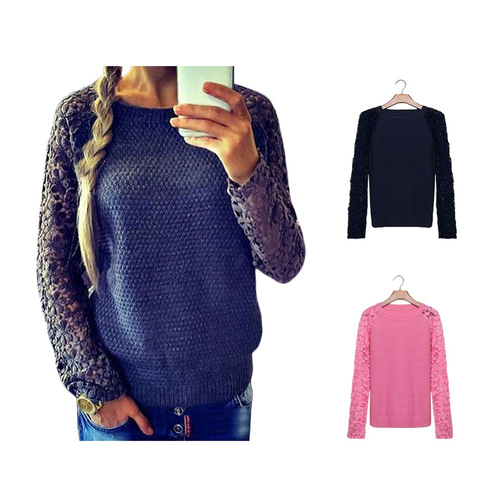 2015 newest high quality women casual patchwork lace pullover knitted long sleeve hollow out. Black Bedroom Furniture Sets. Home Design Ideas
