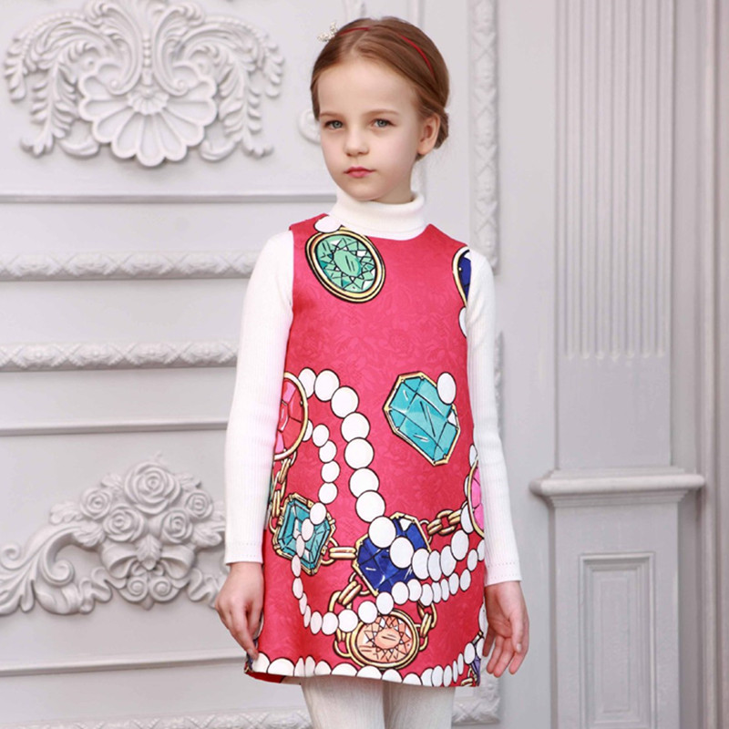 Girls vest dress,brand new in print princess dresses,spring autumn kids clothes,high-end custom children's clothing (4-12 yrs)