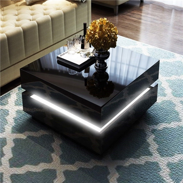 High Gloss Black White Wooden Coffee Table With Led Lighting Range Buy Coffee Table Coffee Table With Led Light Wooden Coffee Table Product On Alibaba Com