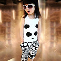 Free Shipping 2016 New Baby Girl Sleeveless Cotton Cloth Set Panda Vest Pants Fashion