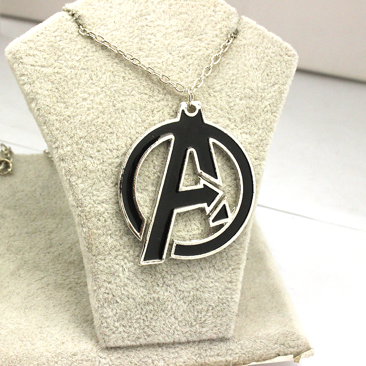 Drop Shipping The Avengers A Symbol Superhero Enamel Collares Pendant Necklace Cheap Wholesale Movie Jewelry Chain