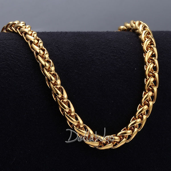 Mens-Womens-Necklace-3-4-5MM-Wheat-Chain-18K-Gold-Filled