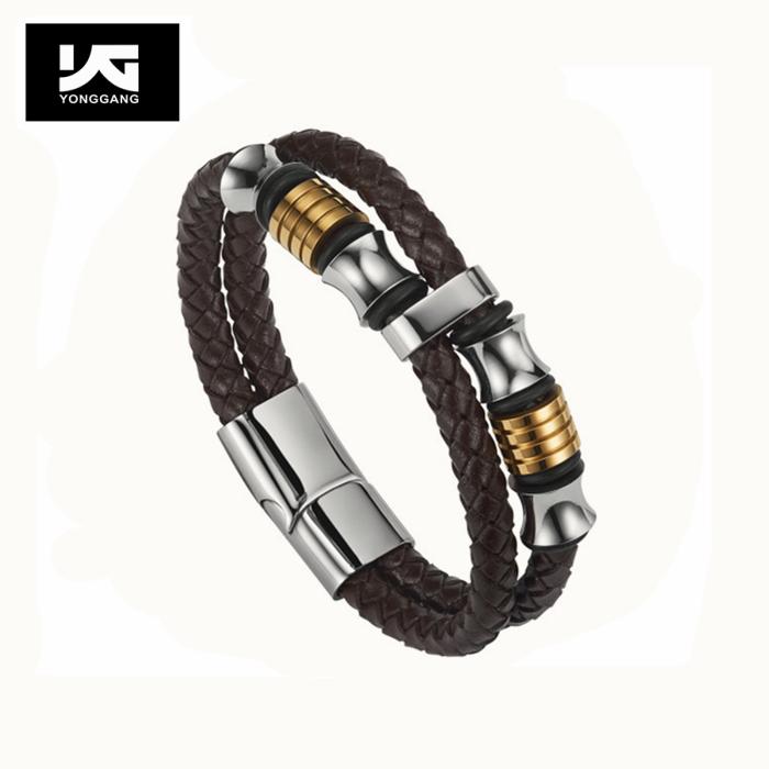 Braided leather custom stylish bracelet for men