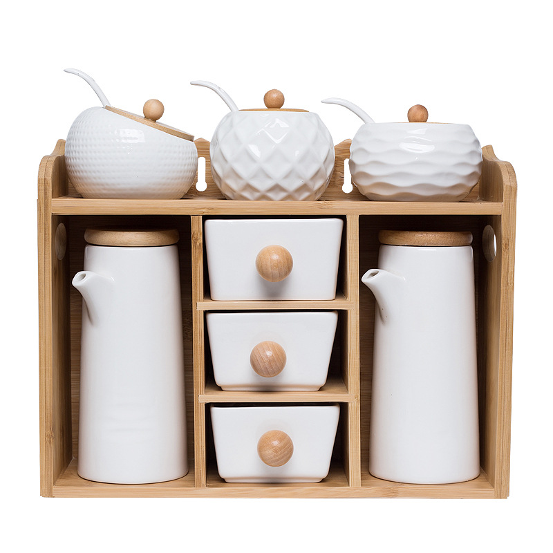 Ceramic Kitchen Storage Seasoning Box Set Porcelain Salt /Sugar / Spice / Pepper Spice Jars Sets