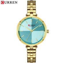 CURREN женские часы Топ бренд класса люкс из нержавеющей часы с металлическим ремешком женские Аналоговые кварцевые наручные часы Простой сти...(Китай)