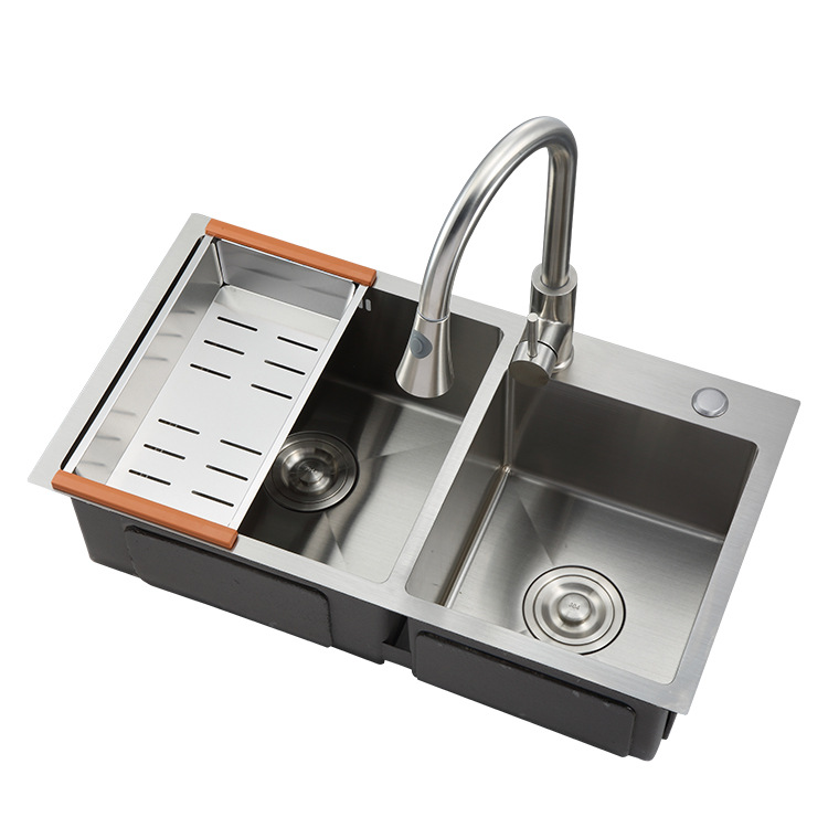 8045 Standard Size Stainless Steel Double Bowl Corner Kitchen Handmade Laundry Sink View Double Bow Kitchen Sink Ywleto Product Details From Yiwu Leto Hardware Co Ltd On Alibaba Com