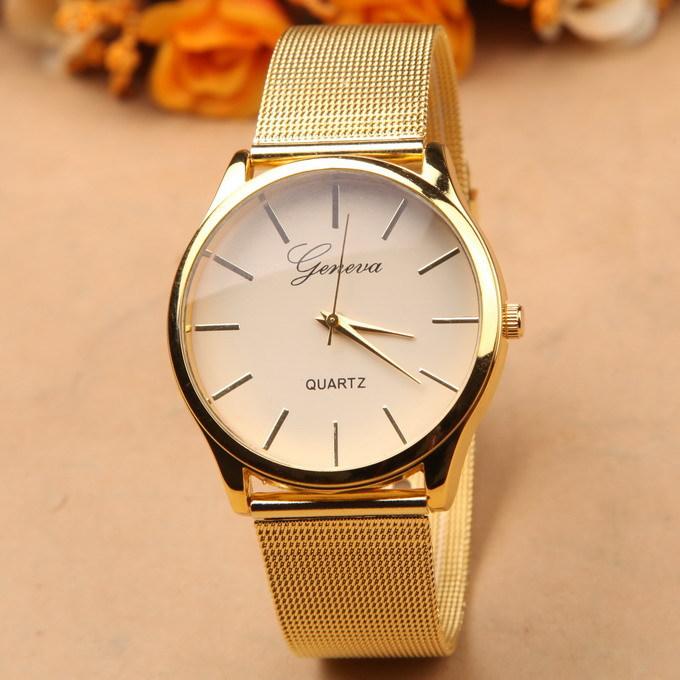 Geneva Reloj De Cuarzo Para Hombre De Aleación De Oro Con Correa De Malla Buy Relojes Con Correa De Malla Product On Alibaba Com