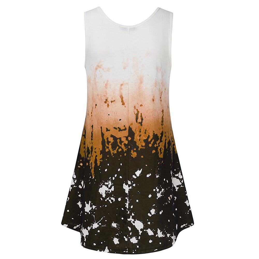 e452f78d28 Womens Tie Dye Sleeveless Vest Top Blouse Casual Tank Loose Tops T ...