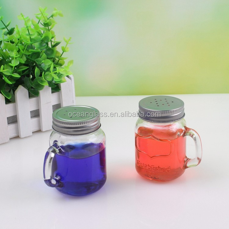 Mini Mason Jar With Handle And Screw On Lid With Rim Seal