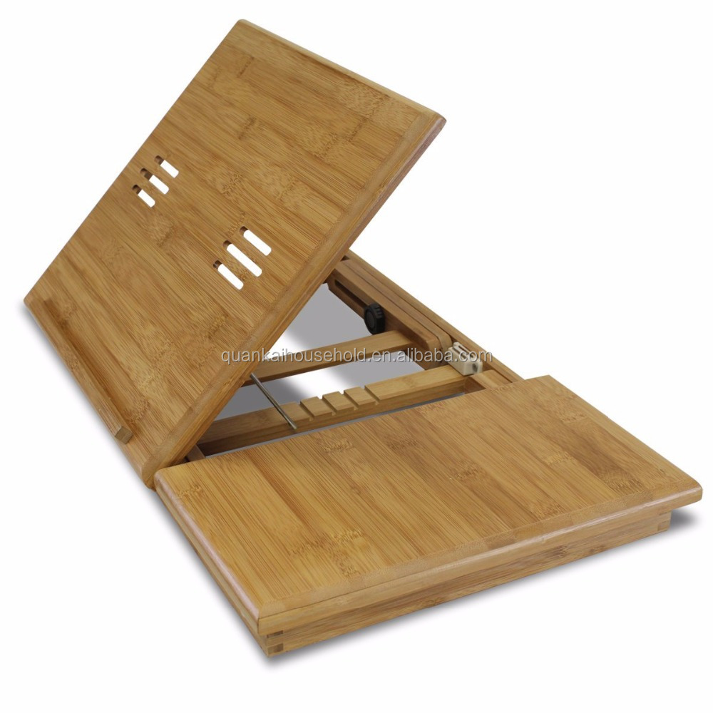 100% Натуральный Бамбуковый стол для ноутбука, поднос для завтрака с ящиком, складные ножки