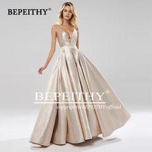 Женское длинное платье-трапеция BEPEITHY, серое блестящее платье с глубоким v-образным вырезом и открытой спиной для выпускного вечера, 2020(Китай)