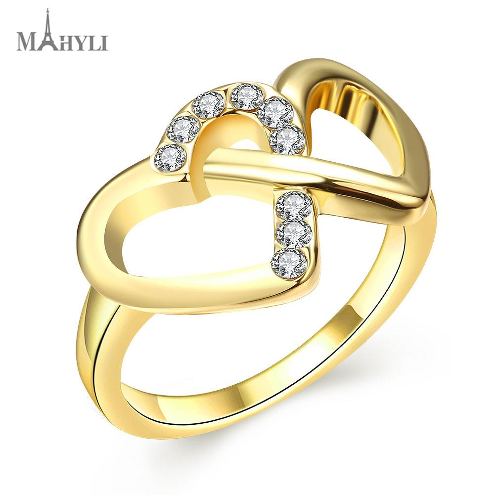MAHYLI Promotion 18K gold plated ring double heart wedding ...