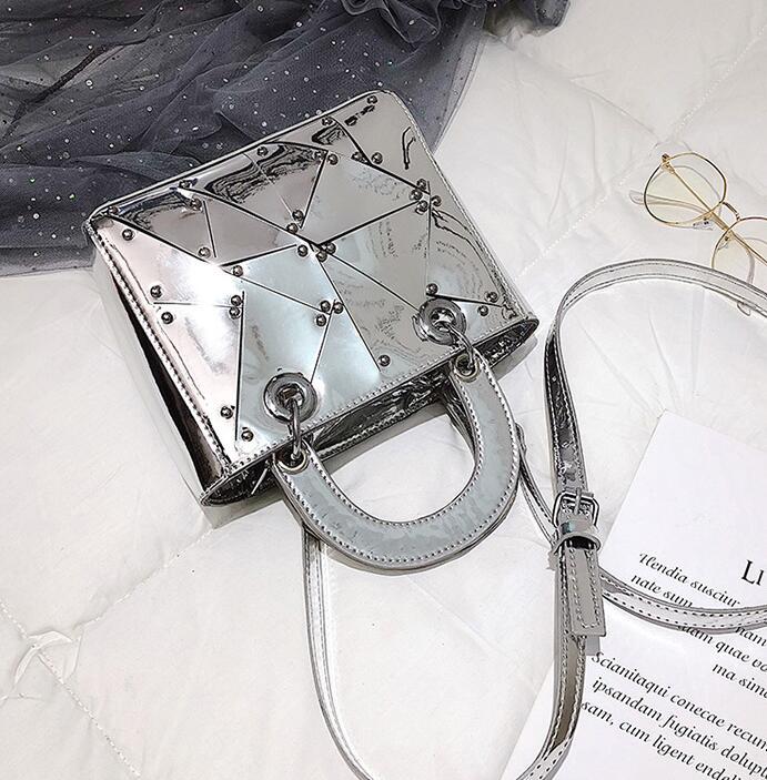 Роскошная брендовая Сумка-тоут, новинка 2020, женская дизайнерская сумка из искусственной кожи высокого качества с зеркальными заклепками, с...(Китай)
