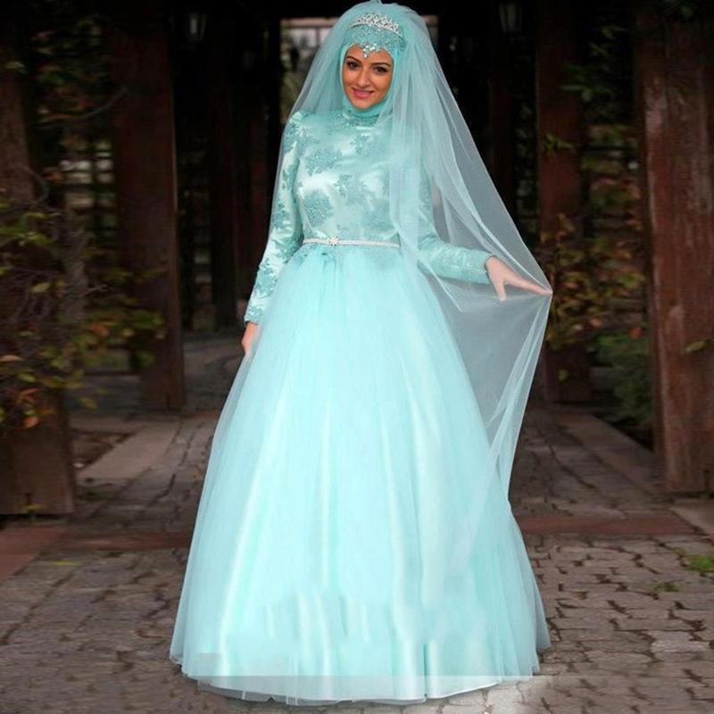 Elegant Long Sleeve Wedding Dresses Muslim Dress 2015: Arabic Robe De Mariage 2016 Elegant Mint Green Long Sleeve