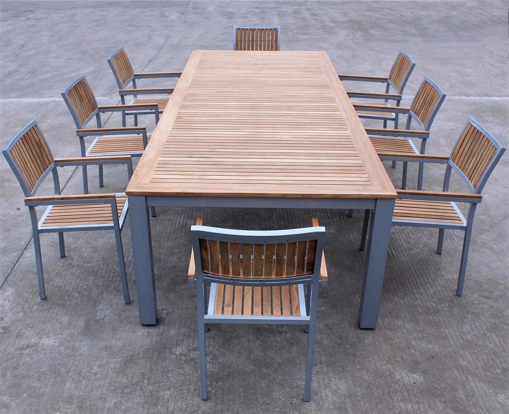 Outdoor Garden Restaurant Aluminum Frame Teak Dining Table And Chair Set Buy Teak Wood Dining Set Teak Dining Table Set Outdoor Teak Dining Chairs Product On Alibaba Com