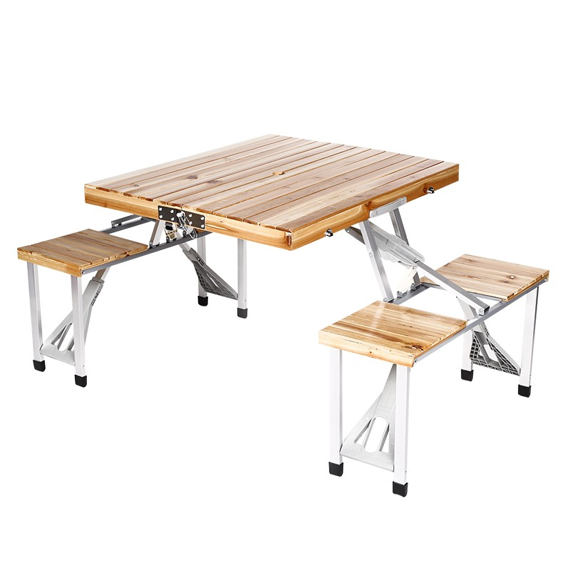 Factory Supply Durable 4 Sets Portable Modern Indonesian Foldable Wooden Outdoor Furniture Table