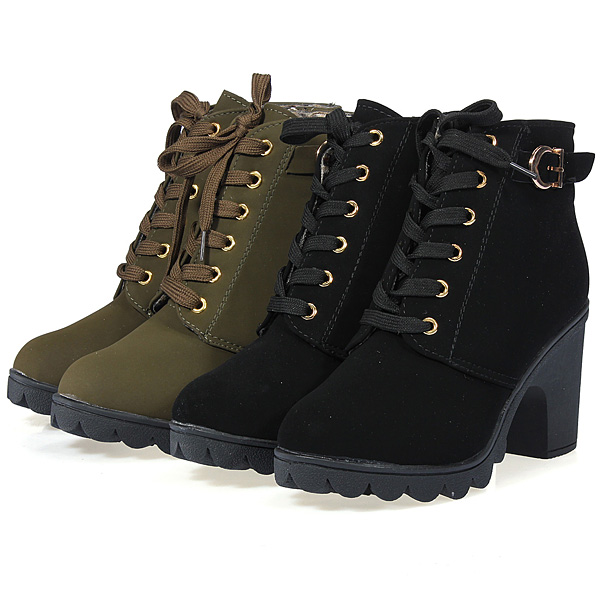 Women Chunky Block High Heel Ankle Boots Winter Nubuck